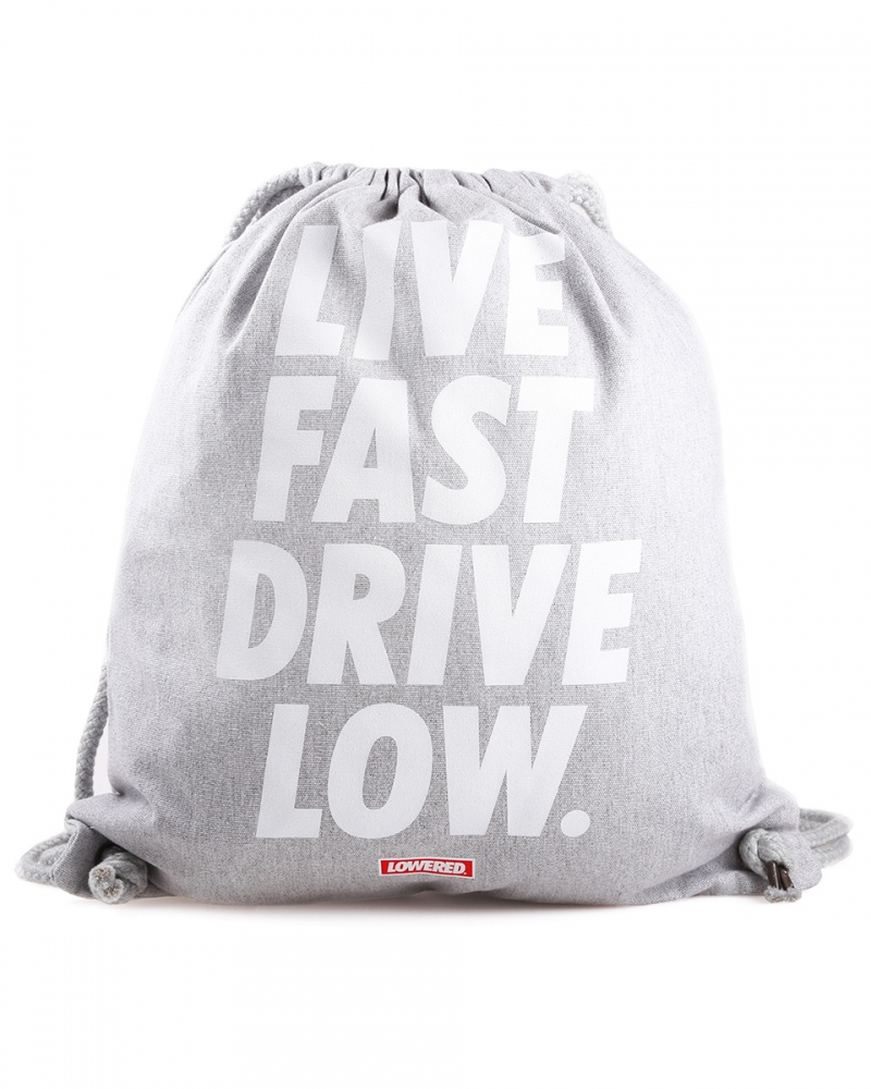 LIVE FAST DRIVE LOW GYM BAG - GREY
