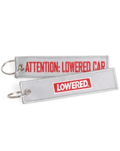 Attention Lowered Car Keychain Grey Red
